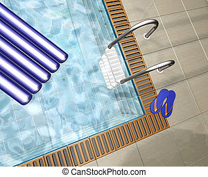 Swimming pool - 3D render of a swimming pool in a pool house