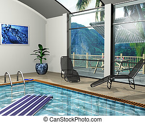 Pool house - 3D render of the interior of a pool house