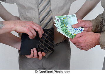 Cash payment with witness - Business and sales concept of a...