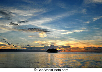 Tropical marine sunrise with island - Flamboyant colorful...