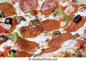 supreme pizza - pizza pepperoni peppers garlic mushrooms...