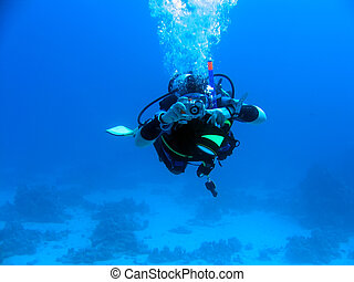 underwater photographer - diver in deep underwater...