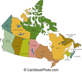 canada 01 - a full color map of canada with province names...