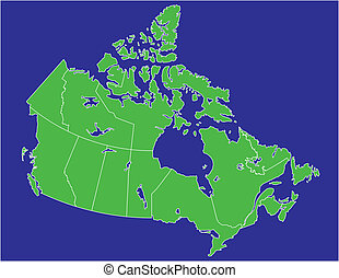 canada 02 - a basic map of canada with water in blue and...