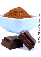 Chocolate And Cocoa - Two Pieces Of Dark Chocolate With A...