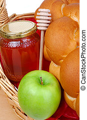 Gift Basket With Honey, Bread, Apples And A Honey Dipper