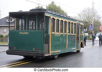 Converted Trolley Car on a Foggy Day - Converted Trolley Car...