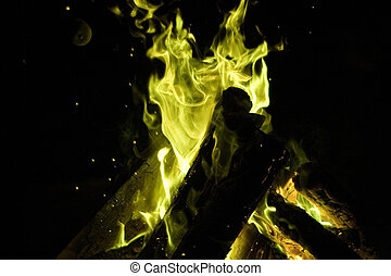 Magical Fire - Magical bonfire glowing green, any wizard...