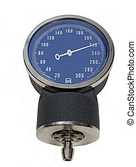 High Blood Pressure - A Sphygmomanometer showing a very high...