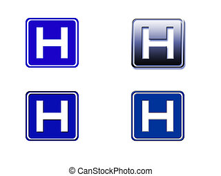 Hospital Sign - Four Versions of the Hospital sign