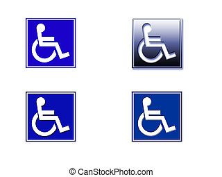 Wheelchair Sign - Four versions of the Wheelchair symbol