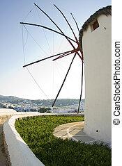 windmill greek islands - mykonos, windmill harbor town view...