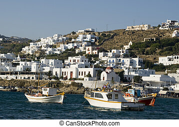 harbor in the greek islands - greek island harbor with...