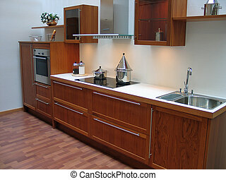 Modern kitchen - Modern design kitchen with hardwood...