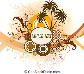 Floral frame - Floral background with frame and palms -...