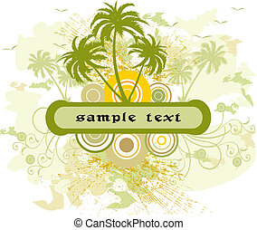 Floral frame  - Floral background with frame - illustration