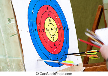 Target for crossbow shooting. Amateur competitions in...