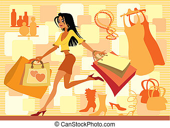 Red shopping - Girl with shopping bags in red