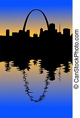 St Louis Skyline - A silhouette of the St Louis Missouri...