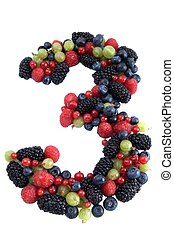 Healthy number 3 - Number three made of several kinds of...