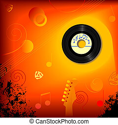 Retro 45 RPM Music Background - Retro 45 RPM record in an...