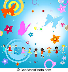 kids playing - Group of kids on abstract background with...