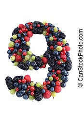 Healthy number 9 - Number nine made of rasp-, black, blue,...