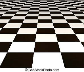 black and white tiles - a large black and white checker...