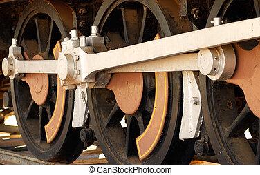 steam train wheels - close up of the wheels of a steam train