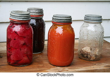 Vintage canning jars with food