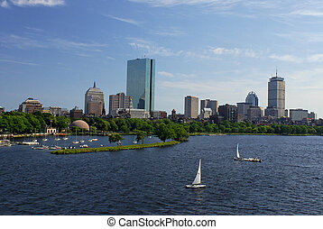 sailboating on the charles - View of the boston skyline from...
