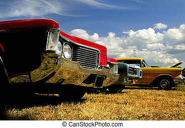 Muscle Cars - Muscle cars in a row at vintage car show