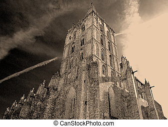 Old church in sepia - Old gothic church in Chelmno, Poland