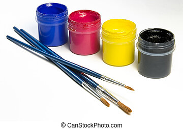 Paints - Brushes and paints blue, violet, yellow, black...