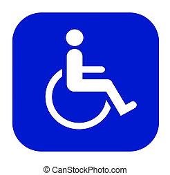 handicapped symbol - a handicap symbol against a blue...