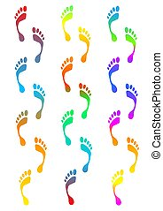 footprints - coloured footprints traces - computer generated...