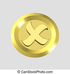 x mark icon - gold x mark icon - computer generated