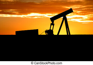 Old pumpjack - Shut-in oil well with 1950s type pumpjack...
