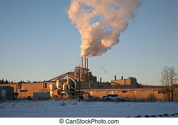 Pulpmill and stacks - Pulp Mill with smoke stacks.  Alberta