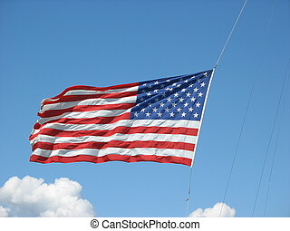 Stars & Stripes - United States flag blowing in wind