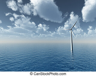wind generator at the ocean- 3d illustration