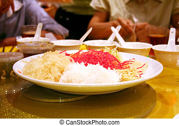 Chinese yee sang - Traditional chinese new year celebration...