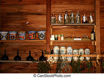 Apothecary Shop Shelves - Apothecary shop shelves showing...
