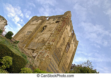 Ancient castle keep - Low-angle and angled view of the keep...