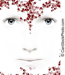 lovely flower face - lovely white face with blue eyes as a...