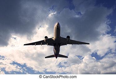 jet taking off at dusk.