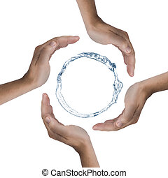 Save the nature - 4 hands protecting a ring of water....