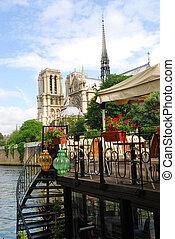 Restaurant on Seine - Restaurant on a boat on river Seine...