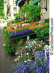Flower stand in Paris - Colorful flower stand on a sidewalk...