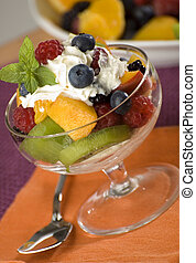 fruit salad with mixed fruit close up